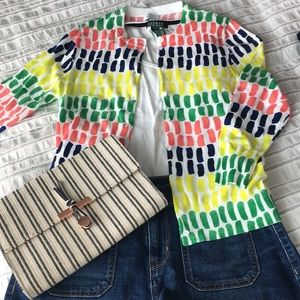 Neon print 3/4 sleeve cardigan